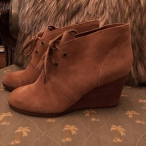 Suede lace up wedge booties